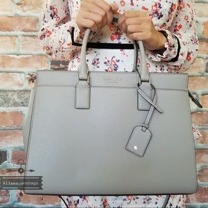 Kate spade large leather Cameron satchel gray new